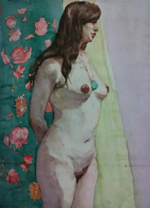 人物水彩画《裸女